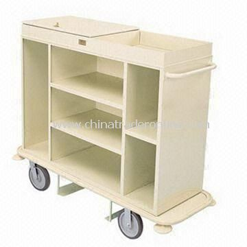 Housekeeping Cart with Three-sided Cabinet Divided into Three Sections and Eight-inch Wheels