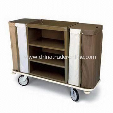 Housekeeping Cart with Two/Three Shelves and Open Top Tray Organizer with Stationery Organizer