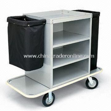 Specialty Housekeeping Cart with Three Shelves and Low Profile Handles