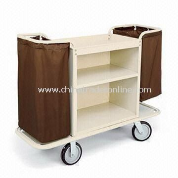 Two Shelves Housekeeping Cart with Steel Cabinet of 30 x 30-inch and 2.5-inch Deep Top Tray