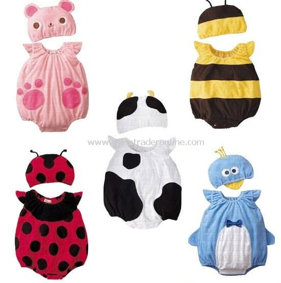 China Wholesale cheapest 100% Cotton Cute Cartoon Features layette baby suits infant
