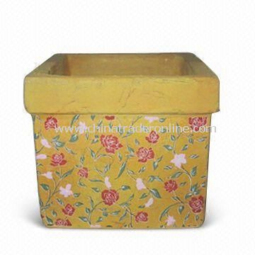 Terracotta Flower Pot, Decoration for Room and Home, Measures 24.5 x 24.5 x 21.5cm