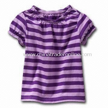 Babies T-shirt, Popular Purple Stripe Design, Made of 100% Cotton