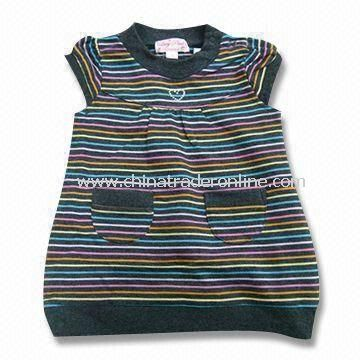 Baby Sleeveless T-shirt with Stripes, Made of Cotton, Measures 76 to 104cm
