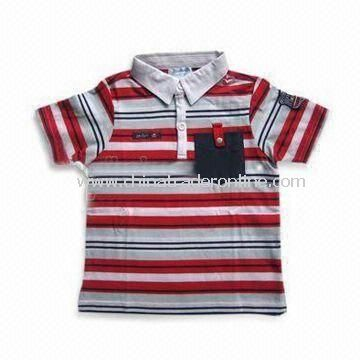 Baby T-shirt with Stripes and Short Sleeves, Made of 100% Combed Cotton, Available in Various Colors