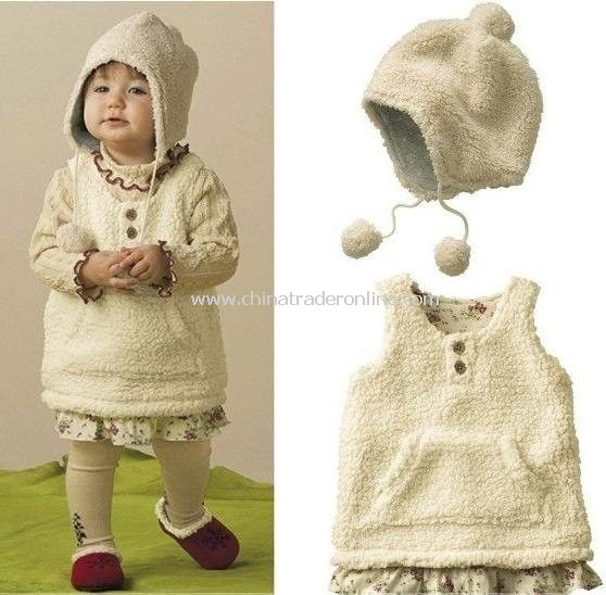 Baby vests+caps Girls vests toddlers coats sweaters waistcoat with a hat 12 sets