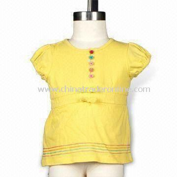 Bow Waist T-shirt with Front Multicolor Buttons, Made of 180g Cotton Jersey