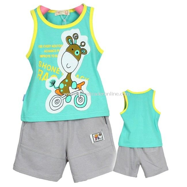 Wholesale - Baby Outfits Sets baby waistcoat baby shorts outfit - baby clothing set baby clothes vest