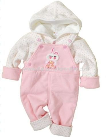 kids clothes baby hooded sweatshirts + Bib Set quilted