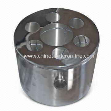 10L Stainless Steel Ice Bucket, Large Cubage, Metal Rack for Shot Glass and Cocktail Shaker