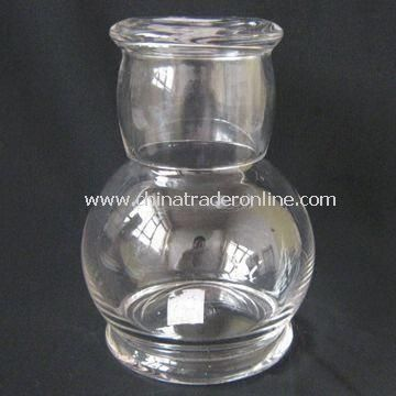 Clear Glass Carafe with Cup and 18.5cm Height