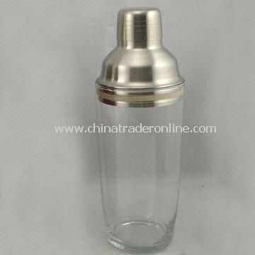 Clear Glass Shaker with Stainless Steel Cover