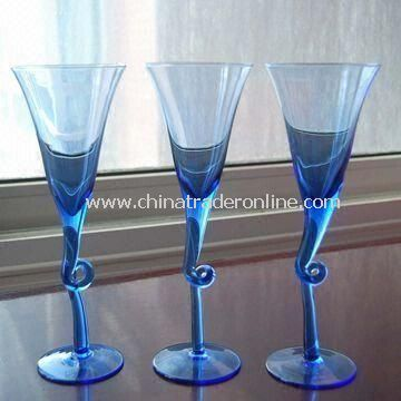Cocktail Glasses in Full Solid Blue Color, with Twisted Stem
