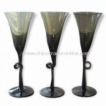 Cocktail Glasses in Smoky Gray Solid Color, with Twisted Stem, Measures 8 x 22.5cm