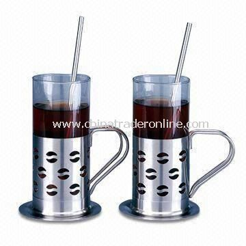 Coffee Mugs, Includes 2 Pieces Straws and Plates, Made of Glass