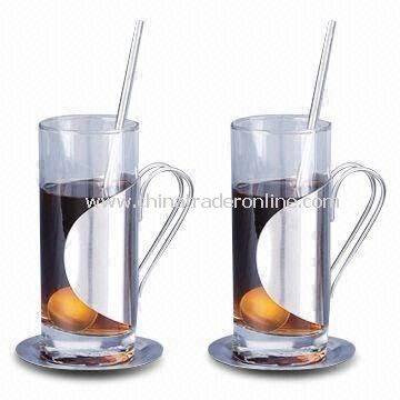 Coffee Mugs with 280ml Capacity, Includes 2 Straws and Plates, Made of Glass