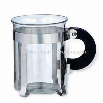 Heat-resistant Glass Coffee Cup with Handle, Made of Stainless Steel
