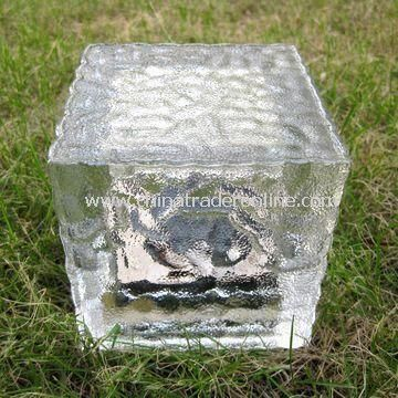LED Solar Glass Rock Light with 2V/80mA Solar Panel, Measuring 10 x 10 x 10cm