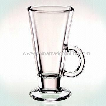 Promotional Machine-pressed Glass Coffee Mug with 8oz Capacity