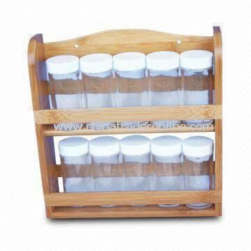 Bamboo Spice Rack with Naturally Resistance to Bacteria and Odor, Customized Designs Welcomed