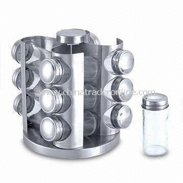 Revolving Spice Rack with 12pcs Condiment Glass Jars