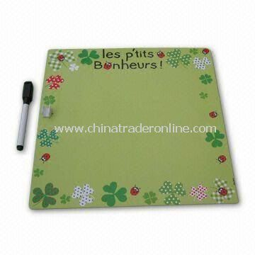 Stylish Memo Board in Green, with 0.5mm Soft Magnet with 200g Chrome Paper