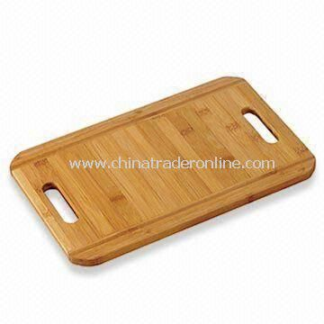 Bamboo Cutting Board with Two Handle and Repeatedly Use, Measures 38 x 24 x 1.5cm