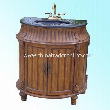 Wood Cabinet Used in Kitchens and Bathrooms with Metal Faucet and Marble / Granite Countertop