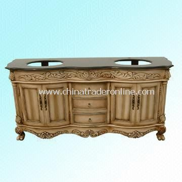 Wood Cabinet with Two Sinks and Marble / Granite Countertop from China