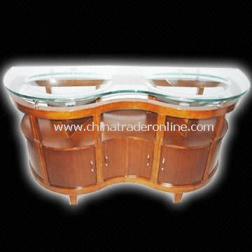 Wooden Cabinet with 19mm-thick Glass Basin Countertop as Vanity