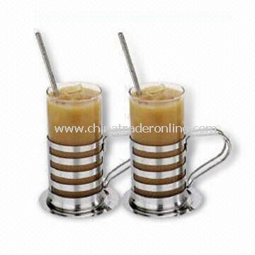 2 Pieces Irish Coffee Mug in Cross Band Design, Mirror Finish, S/S Holder, Straw Spoon, Round Plate