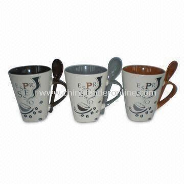 320cc Ceramic Mug with Spoons, Made of Lead, Suitable for Coffee, OEM Orders Welcomed