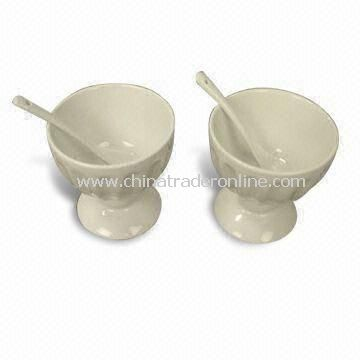 Ceramic Ice Cream Cup with Spoons, Meet FDA, 84/500/EEC Standards