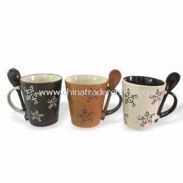 Ceramic Mugs, Suitable for Coffees, Teas and Hot Chocolates with Spoon