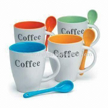 Coffee Mugs with Spoon, Measures 13.1 x 11.3 x 8.3cm