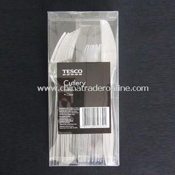 Plastic Disposable Cutlery Set, OEM Orders Welcomed, Includes Fork, Dessert Spoon and Knife