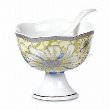 Porcelain Ice Cream Cup with Spoon Various Designs are Available, Measuring 11 x 8.5cm