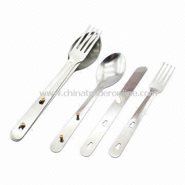 Cutlery Set, Made of Stainless Steel, Ideal for Camping
