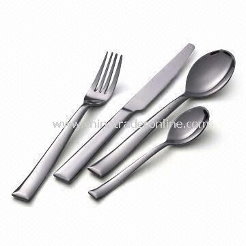 Cutlery Set with Mirror Polish/Sand Finish, Includes Fork, Teaspoon, Knife, and Spoon
