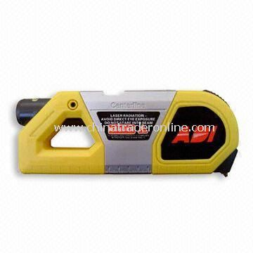 Laser Level and Tape Measuring Tool with Laser Light, Operated by 2 x 1.5V AAA Battery