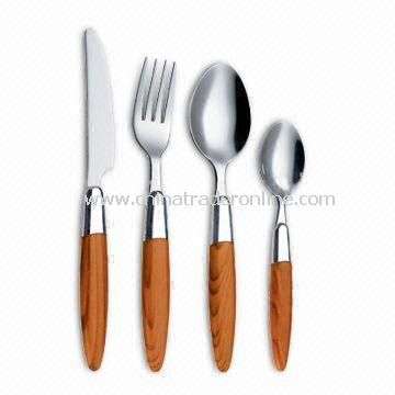 Plastic Handle Stainless Steel Cutlery Set with Bamboo Pattern Handle