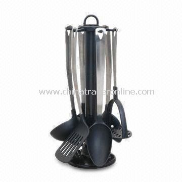 Nylon Utensil Set with Stainless Steel Handle/Stand, Includes Patato Press Skimmer and Soup Ladle from China