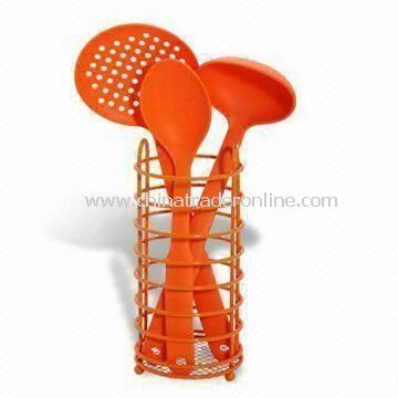 Nylon Utensil Set with Stainless Steel Holder, 30cm Spoon and 33.5cm Skimmer from China