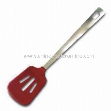 Silicone Slotted Turner, Made of Stainless Steel Material Handle, Rust-proof and Discoloration
