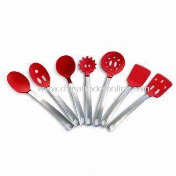 Silicone Utensil Set with Stainless Handles and Handing Holes, Available in Different Colors
