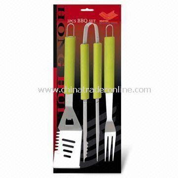 3pc BBQ Tool Set With Colorful Silicone Handle, Includes Turner, Tongs and Fork