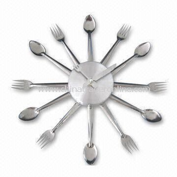 Promotional Spoon and Fork Shape Wall Clock, Made of Plastic