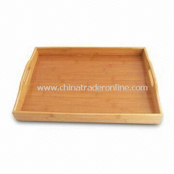 3-piece Bamboo Serving Tray, Rectangle-shaped, Various Colors and Sizes Available
