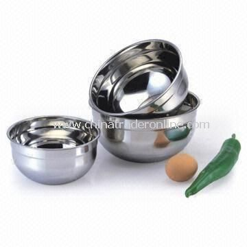 3-piece Stainless Steel Salad Bowls, Bracket Size of 18 x 9.5cm from China