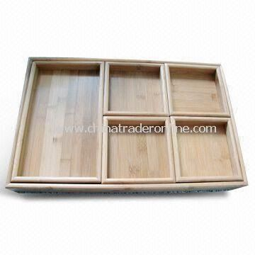 6-piece Bamboo Tray Set in Lacquer Finish, Customized Sizes are Accepted